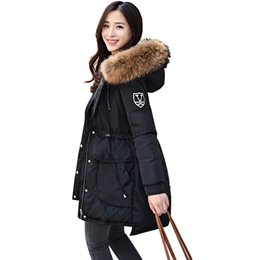 Wholesale Ladies Hooded Large - 18cm Large Natural Raccoon Fur Collar 2017 Winter Coats Women 90% White Duck Down Jacket Thick Ladies Down & Parkas For Female