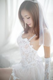 Wholesale Fun Sexy Pajamas - New Women Sexy Lingerie White Lace Bridal Wear Wedding Packages Containing Garter Dress Fun Perspective Pajamas QQ-041