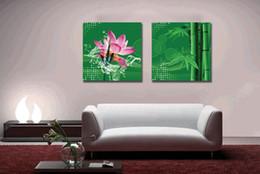 tela astratta di bambù Sconti unframed 2 Pieces abstract artfoto Decorazione della casa Stampe su tela Lotus Bamboo orange Cartoon flower tea wheat Daisy Calla Lily