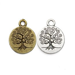 Wholesale Antique Silver Christmas Tree - Antique Silver Tree of Life Charms Beads Pendant for Women Bracelet Necklace Jewelry Making Handmade DIY 19x15mm