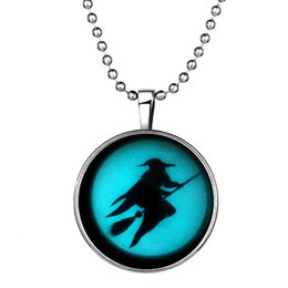 """Wholesale Flying Broom - Noctilucence Glow Fashion Alloy Halloween Flying Broom Witch Time Gemstone Pendant Necklace Charms for Girl,23.6"""" 152N79"""
