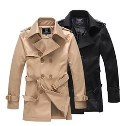 Wholesale Classic Khaki Trench Coat - 2016 Winter Charm Men Vintage Trench coat Elegant Man Windproof Coat Black,khaki M-4XL Classic Design Men Trench Coat