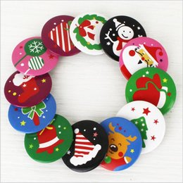 Wholesale Round Clothes Pins - Brooches For Clothes Christmas Decoration Badge Pins Round Hat Backpack Accessory 4*4cm Cartoo Brooch Free Shipping