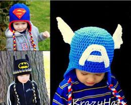 Wholesale Despicable Men - Despicable Me Captain America Superman Spiderman Batman Iron Man Super Hero Boys Knitted Hats Kids Crochet Beanie Winter Children Cap Cotton