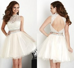 Wholesale Cheap High Top Shorts - New Two Pieces Short Homecoming Dreses 2016 High Neck Lace Top Crystal Backless Mini Modest White Prom Party Cocktail Gowns Cheap Custom