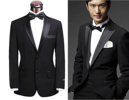 Wholesale New Black Tuxedo Boy S - 2016 New polyester Cool-boy style Peak lapel wedding tuxedo  wedding suit for men include(pants+jacket+Bowtie)
