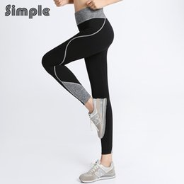 Wholesale Tight Waisted Women - Wholesale-Elastic Waisted stripe YOGA Women pants ropa running mujer sportswear for fitness compression running leggins sports tights Gray