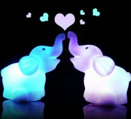 Wholesale Lead Elephant Toy - Lowest price sell Colorful Nightlight wholesale elephant colorful lights LED light source stall selling free shipping 10pcs lot