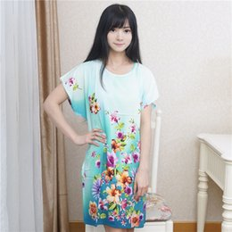 Wholesale White Cotton Nightgowns Wholesale - Wholesale- Summer Brand New Blue Women's Cotton Sleepwear Vintage Print Robe Bath Gown Sexy Nightgown Flower Home Dress One Size WR077
