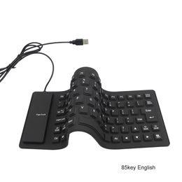 Wholesale Desktop Silicon - Foldable 85keys Wire USB Interface USB 2.0 Silicon Keyboard Teclado Waterproof for PC Desktop Laptop OTG Android