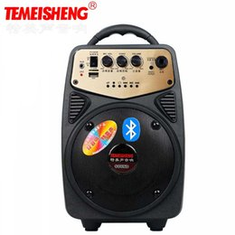 Wholesale Apple Input - Wholesale- TEMEISHENG High Power Bluetooth Speaker Lithium Battery Support TF Card USB Mp3 Play AUX and Microphone Input Portable Speaker