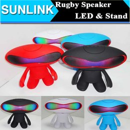 Wholesale Wireless Outdoor Amplifier - Rugby Football Style Bluetooth Wireless Speaker LED Light Portable Mini Subwoofer Outdoor Audio Amplifier Hifi Speakers w  Dude Doll Stand