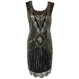 Wholesale Girl S Dresses Sequin - Women 1920s Gatsby Themed Party Dress Vintage Flapper Girl Sequined Beaded Back Deep V Sleeveless Black Backless Summer Dress