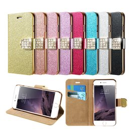 Wholesale Galaxy S4 Bling Rhinestone - Glitter Bling Diamond Flip PU Leather Wallet Case for Samsung Galaxy S7 S6 edge plus S5 S4 Note5 note7 Stand Holder Card Slot