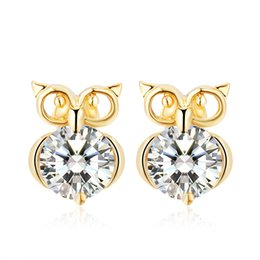 Wholesale Owls For Earrings - Euroepan Cute Animal Owl Earrings Silver Gold Plated Crystal Zircon Stud Earrings for Women Fashion Jewelry boucle d'oreille High Quality