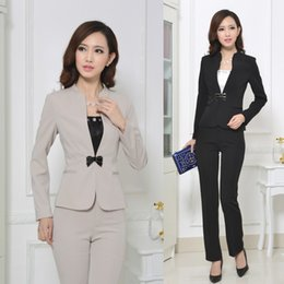 Wholesale Office Wear Fashion For Ladies - Wholesale-Formal Pant Suits for Women Work Wear Blazer Set Fashion Ladies Business Suits Toursers Office Uniform Designs