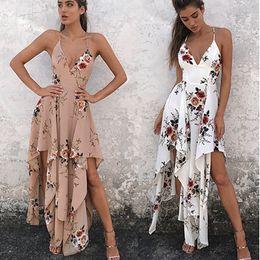 Wholesale Dresses Bohemia Style Chiffon - Bohemia Women Sleeveless Spaghetti Strap Floral Print Casual Summer Beach Maxi Long Dresses Femme Vestidos Boho Style