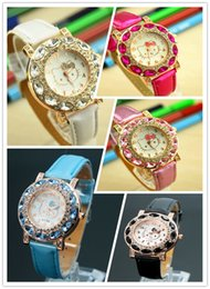 Ciao regalo della vigilanza del gattino online-Vendita calda Cute Hello Kitty Watch Bambini Donne Fashion Crystal Dress orologi da polso al quarzo regalo di alta qualità