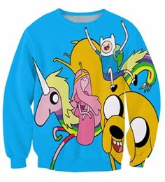 Wholesale Army Crewneck Sweatshirt - Wholesale-Women Men 3d Adventure Time Cartoon Finn Jake Bees Crewneck Sweatshirts Funny Jumper Outfits Fashion Clothing Sport Tops Sweats