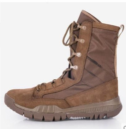 Wholesale white combat boots - high quality 2017 New Army Boots Mens Tactical Boots Shoes Desert Outdoor Hiking Leather Boots Military Enthusiasts Combat Shoes