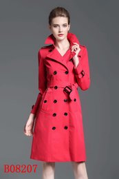 Wholesale Double Breasted Red - The long style double row of ox horn button trench coat women's coat will wear the new hot selling shoulder sleeve in 2017