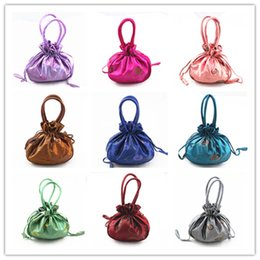 Wholesale Purse Drawstring Storage Bag - Sequins Embroidered Tote Coin Purse Large Gift Packaging Bags Handle Drawstring Satin Fabric Storage Pouch Mobile Phone Wallet Pocket