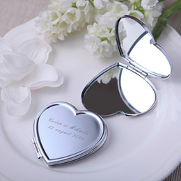 f7f2bfa200b 50Piece Lot Personalized Wedding Gift And Favor For Guest With Purse Bag  Customized Heart Make-Up Mirror Gifts Baby Bridal Favour Party Boda