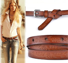 Wholesale Carved Leather Belts - Wholesale- hot new 2015 Vintage womens belt New Style Carve Flower Pigskin Slender Belt