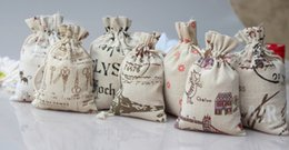 Wholesale Chocolate Candy Gifts - Fashion Favor Holders Bags Vintage Printing Linen Pouches 70*100 mm Wedding Party Candy Chocolate Present Gift Guess Bags pocket