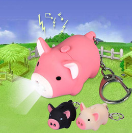 Wholesale Flashlight Keychains - 3 colors ! cute pig led keychains flashlight sound rings Creative kids toys pig cartoon sound LED light keychains child gift