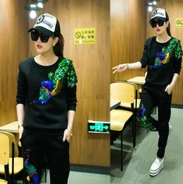 Wholesale High Fashion Yoga Clothes - High Quality Fashion Women Hoodie Set Sport Casual Tracksuit Woman Sweatshirt Sequin Peacock Pullover Hoodies +Pants Female Clothing Set