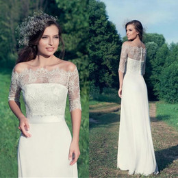 Wholesale Strapless Lace Column Wedding Dress - Simple Elegant Country Style Wedding Dresses 2016 Sheath Strapless Bridal Gowns with Sash Sheer Romantic Lace Jacket Illusion Sleeves