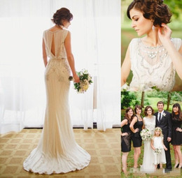 Wholesale Exquisite Beaded Wedding Dress - 2016 Crystal Beading Luxury Wedding Dresses Exquisite Crystals Beaded Gown Keyhole Back Sheath Sweep Train Vintage Garden Bridal Gowns