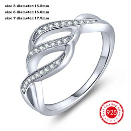 Wholesale Diamond Semi Ring - Semi Infinity Brand Solid 925 Sterling Silver Half Eternity Diamond CZ Crisscross Crossover Twisted Rings Engagement Jewelry DL75030A