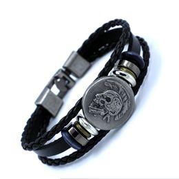 Wholesale Hand Woven Belts - Beaded vintage hand-woven leather bracelet Indian Skull punk leather bracelets for men charm leather belt bracelets jewelry