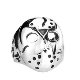 Wholesale Jason Face - JLN 316L Titanium Stainless Steel Ring Men's Gothic Punk Friday The 13th Jason Mask Rings