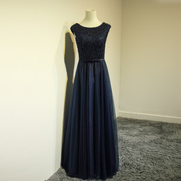 Wholesale Elegant Dark Navy Cap Sleeveless - Dark Navy Mother of the Bride Dresses Scoop Sleeveless Zipper Back Soft Tulle with Embrodery Beading Long Mother's Dress Real Photos Elegant