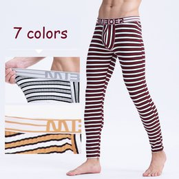 Wholesale Long Underwear Mens - 2016 Winter Mens Warm Thermal Underwear Mens Long Johns Sexy fashion striped Thermal underpants cotton Long Johns For Man