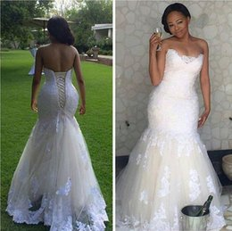 Wholesale Mermaid Wedding Gown Real Pictures - Real Picture 2016 White Lace Mermaid Wedding Dresses Plus size Bodice Corset Lace Up Back Sleeveless Wedding Gowns Sweep Train Bridal Dress