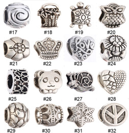 Wholesale Wholesale Loose Bohemian Jewelry - Alloy Loose Beads Bohemian Big Hole Charms European DIY Jewelry Animals Owl Round Style Loose Beads For Jewelry Making 136 Styles for Choose