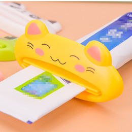 Wholesale Brands Toothpaste - Wholesale-1pcs Brand New Cartoon Easy Squeezer Toothpaste Tube Dispenser Rolling Bath Accessories