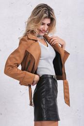 Wholesale Woman S Pink Leather Jacket - Zipper basic suede jacket coat motorcycle leather jacket Women outwear Pink belted short winter jackets