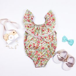 Wholesale Baby Clothes Christmas Designs - 2016 Infant baby rompers summer design baby girl broken flower jumpsuits toddlers pure cotton bodysuits climb clothing