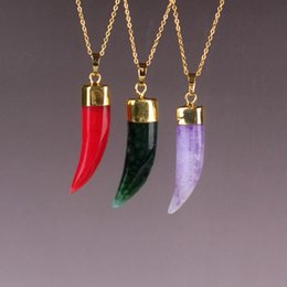 Wholesale Dragon Vein Necklace - Green Red Chinese Jade Pendant Necklace Jewelry Wolf Tooth Shape Natural Dragon Veins Agate Stone Amethyst Lucky Protection Powers Amulet
