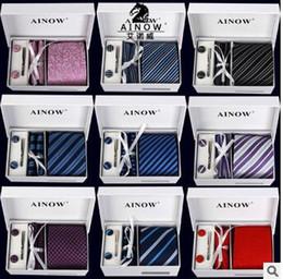Toda venda 16 cores neck tie set gravata abotoaduras dos homens laços de poliéster ascot hankies listrado torre de Bolso praça queda grátis de
