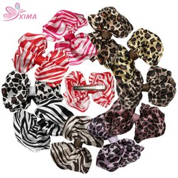Wholesale Zebra Hair Color - XIMA 10PCS New 3.5inch Printed Animal Satin Bows with Alligator Clip Zebra and Leopard Pattern Hair Ribbon Bows Kids Headwear