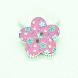 Wholesale Sewing Buttons 17mm - Free Shipping 100 Pcs Random Mixed 2 Holes Flower Wood Sewing Buttons Scrapbooking 17mm Knopf Bouton(W02546 X 1)