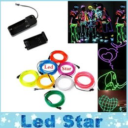 Wholesale Led Strip Lights Motorcycle - EL Wire Cars motorcycles bike holiday Decoration 1M 2M 3M 5M Flexible 2.3mm Light Glow Rope tape Cable Strip LED Neon Lights