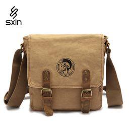 Wholesale Military School Bags - Men's Vintage Canvas Leather School Military Shoulder Bag Fashion Leisure Messenger Bag Men's Crossbody Bags Hombre Bolso