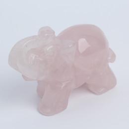 """Wholesale Elephant Crafts - 2.9"""" Rose PQuartz crystal elephant Figurine Carving Stone Longevity Chakra Healing Reiki Stones Carved Craft crystal elephant Free Shipping"""